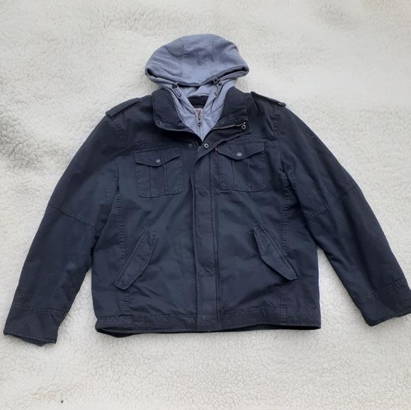 Levi's black denim jacket fleeced lined with hood